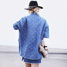 "the current/elliott quilted car coat as seen in ""denim down"" 