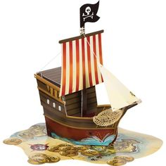 Pack of 6 Pirate's Map Dimensional Ship Centerpiece Birthday Party Decorations - Walmart.com