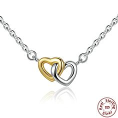 925 Sterling Silver Double Heart Pendant Necklace