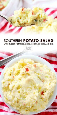 An easy Southern Potato Salad Recipe with egg! Made with Russet potatoes and creamy mayonnaise dressing. A squeeze of yellow mustard and fresh relish add a little tang, while a medley of finely chopped veggies add just the right amount of crunch. It is the perfect potluck party food, the best recipe to bring to a BBQ, and the all-time best summer side dish for feeding a crowd!
