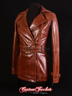 Ladies-PARIS-Tan-Real-Lambskin-Leather-TRENCH-COAT-Belted-Jacket-Stylish-Mac