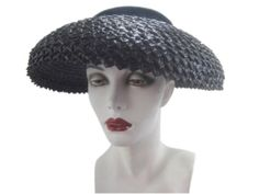 1950's #VintagePictureHat by designer #AdeleClair. Navy Blue woven straw with velvet, real statement hat or #ChurchHat. www.connectibles.net