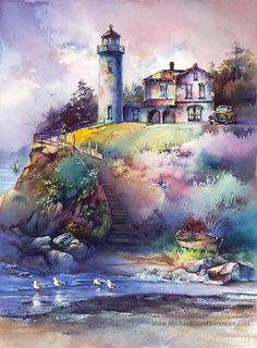 The Lightkeeper -Admiralty Head Lighthouse Watercolor Painting Print by Michael David Sorensen. Easy Watercolor, Watercolor Print, Foto Fantasy, Lighthouse Painting, Art Aquarelle, Watercolor Landscape Paintings, Watercolor Scenery, Painting Abstract, Oil Paintings