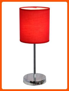 Simple Designs LT2007-RED Chrome Mini Basic Table Lamp with Fabric Shade, Red - Unique lighting lamps (*Amazon Partner-Link)