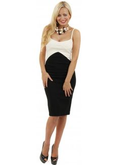 Lucy Dress Cocktail Contrast Bodycon Pencil Dress