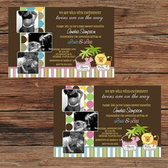 Boy Girl TWINS King Queen of the Jungle Baby Shower Invitations or Thank You Cards