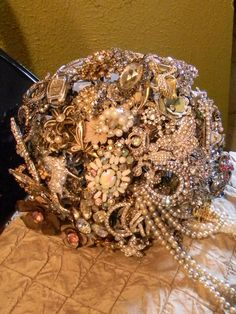 Vintage Bridal Brooch Bouquet with a drip of pearls
