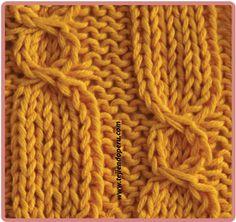 Galeria de puntos 4: Trenzas, ochos, cuerdas - Tejiendo Perú Cable Knitting Patterns, Knitting Basics, Lace Knitting, Knitting Stitches, Knit Crochet, Knit Slippers Free Pattern, Knit Headband Pattern, Knitted Slippers, Knitted Headband