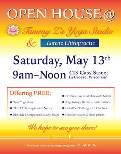 Open House this Saturday at Tammy Z's Yoga Studio & Lorenz Chiropractic! FREE at Yoga Studios, Free Yoga, Local Events, Doterra Essential Oils, Chiropractic, Business Marketing, Open House, Therapy, Chiropractic Wellness
