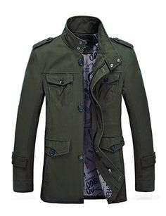 Men's solid cotton casual trench  Materials: Cotton/Polyester      * Zipper closure      * Relaxed fit     * Machine wash and hang dry