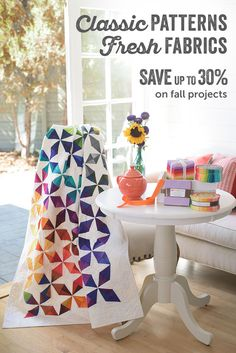 Enjoy fresh, new finds at prices you won't want to miss! Craftsy quilting kits include the fabric and patterns you need to create beautiful quilts from start to finish. Enjoy up to 30% off fall quilting projects, now through 10/3/15.