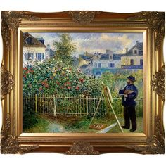Pierre-Auguste Renoir 'Monet Painting in His Garden at Argenteuil ($196) ❤ liked on Polyvore featuring home, home decor, wall art, gold, garden home decor, outdoor paintings, horizontal wall art, garden wall art and landscape wall art