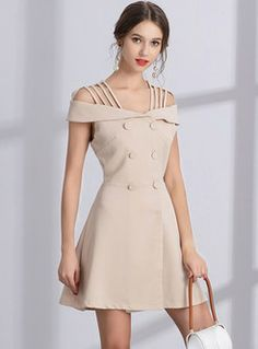 Elegant Off Shoulder DOuble-breasted A Line Dress Day Dresses, Cute Dresses, Evening Dresses, Casual Dresses, Short Dresses, Fashion Dresses, Girls Dresses, Formal Dresses, Skater Dresses