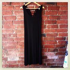 black dress with slashed back