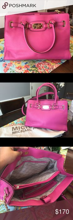 Michael kors pink medium Hamilton This authentic Michael Kors leather bag is super adorable. Can be worn cross body as well. It is in excellent condition. I've only used this probably 5 times the maximum as diaper bag is my best friend right now. No rusting on the gold accents. No marks and stains. Comes with dust bag. No trades. Only reasonable offers accepted. Michael Kors Bags Crossbody Bags