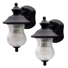 Brighten your home's exterior with this 2-pack of Kichler outdoor wall lanterns. The ribbed Victorian glass and textured matte black finish offer a modern take on a classic look. The clear glass allows plenty of light to shine through by your front porch, garage, and anywhere else you need light. These light fixtures are expertly crafted to withstand the elements. Use up to a 60-Watt incandescent light bulb (or equivalent LED bulb) for more light and added security.