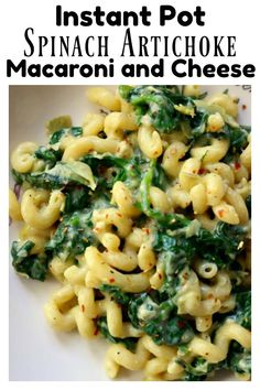Instant Pot Spinach Artichoke Mac and Cheese--creamy, cheesy pasta with fresh spinach and chopped artichokes is a perfect way to indulge while sneaking in some greens. #instantpot #instapot #pressurecooking #pasta
