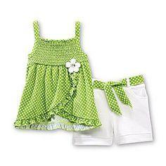 WonderKids- -Infant & Toddler Girl's Smocked Top & Shorts - Polka Dot