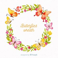Floral frame, cute flowers and butterflies Vector Butterfly Background, Butterfly Logo, Butterfly Template, Butterfly Frame, Flower Frame, Crown Template, Butterfly Mobile, Heart Template, Flower Template