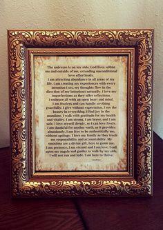 Framed I AM affirmation 8x10 $15