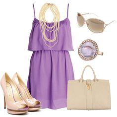 outfit: light-purple thin-strapped layered singlet dress, pearl necklace, cream sunglasses, cream / opal-stoned ring, cream handbag, cream / purple open-toed platform heels
