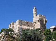 Imagen de la Torre de David en la Ciudadela, próxima a la Puerta de Jaffa. Es la única torre que queda de las 3 hechas por Herodes