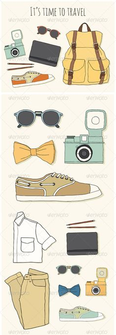 Set of Hipster's Accessories  #GraphicRiver         It's time to travel post card. Traveler's stuff: backpack, glasses, notebook and pencils, camera, shoes. Collection of men's accessories and clothing     Created: 22October13 GraphicsFilesIncluded: PhotoshopPSD #JPGImage #