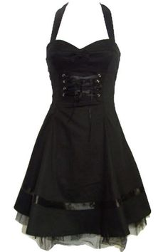 Black Cotton Party Dress with Ribbon Lacing & Bow