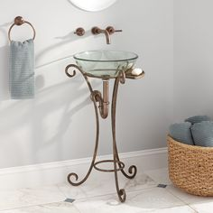 Vanna wrought iron console vanity for vessel sink with marble top discover best ideas about for Wrought iron bathroom hardware