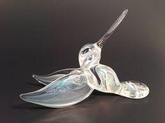 silver veiled hanging hummingbird by JABGLASSART on Etsy, $20.00