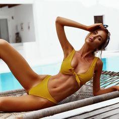 'Pasir Putih Bikini' Tie-front bikini set with cheeky bottoms off right now with code SWIMAWAY Bandeau Bikini, Monokini, Bikini Set, Hot Bikini, Bikini 2018, One Shoulder Bikini, Two Piece Bikini, Triangle Bikini, Swimsuits