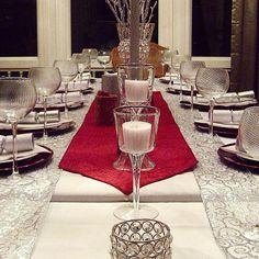Holiday Party Tablescape!  Glittercoatedlenses.wordpress.com #glittercoatedlenses #holiday #table #tablescape #potterybarn #homegoods #festive #michaels #diy #doityourself #design #decorate