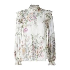 GIAMBATTISTA VALLI Flower Print Sheer Blouse ($1,003) ❤ liked on Polyvore featuring tops, blouses, multi, silk top, floral tops, white top, white silk top and white floral blouse