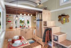 Tiny House Kitchen Inspiration | Great u shaped kitchen under master loft.