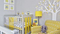 Grey Modern Nursery with Yellow Armchair and Wall Sticker
