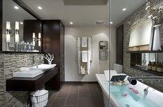 Master Bathroom #bathroom #tub #dark #wood #brown