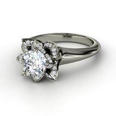 Lotus Ring, Round Diamond 14K White Gold Ring from Gemvara beautiful