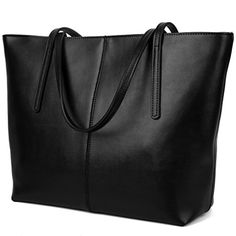 YALUXE Womens Large Capacity Leather Work Tote Zipper Closure Shoulder Bag Black * Check this awesome product by going to the link at the image.
