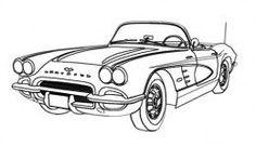 1960's CORVETTE CLASSIC CAR DIGITAL LINE DRAWING: