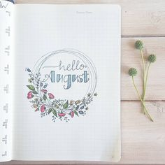 Bullet journal front page. bullet journal - aug cover page - and here' Bullet Journal Design, 2017 Bullet Journal, Bullet Journal Cover Page, Journal Covers, Bullet Journal Headers, Bullet Journal Months, Bullet Journal Review, Journal Layout, My Journal