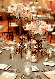Romantic vintage reception wedding flowers,  wedding decor, romantic wedding flower centerpiece, peach wedding flower arrangement, add pic source on comment and we will update it. www.myfloweraffair.com