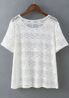 White Short Sleeve Hollow Lace Blouse - abaday.com
