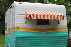 a little bit of a side view of Mabel our Vintage Camper, retro redo, cute camper, trailer,