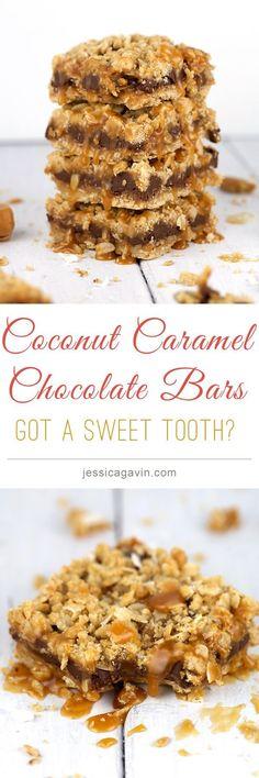 SUPER DELICIOUS! Coconut Caramel Chocolate Bars | jessicagavin.com #dessert