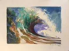 """Colorwave"" Oil on Paper — Wade Koniakowsky Oil Painting Texture, Paper News, Ocean Waves, Watercolor Paper, Painting Inspiration, Impressionist, Doodles, Display, Canvas"