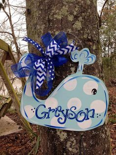 Whale Door Hanger by WhimsyGirlArt on Etsy, $38.00