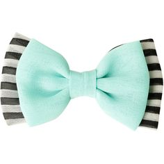 "Hair bow with a solid mint and black and white striped design. Pinback & alligator clip options. 3 1/2"" across. Imported."