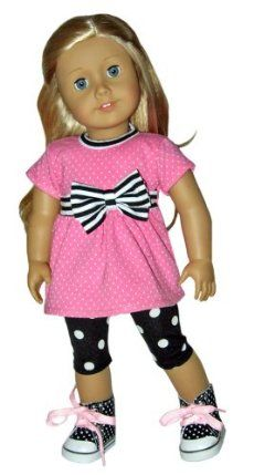 "Black Dot Sneakers, Pink Bow Top, and Black Dot Leggings. Doll Clothes Fit 18""…"
