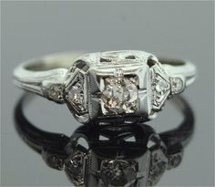 1920s Engagement Ring - 18k White Gold and Diamond Ring. Reminds me of my grandma's. Lovely.