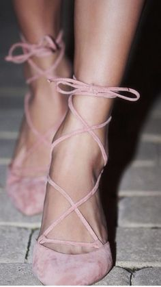 Pretty In Pink Ballerina Style Lace Up Baby Pink Suede High Heels Summer Time Shoes